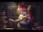 absurdres ardail book highres lamp library moondancer