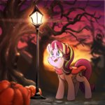 autumn lamp_post scarf starlight_glimmer trees xxmarkingxx