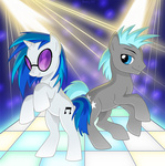 bouncer_pony dancing sharky vinyl_scratch