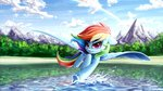 absurdres flying highres lake mountain rainbow_dash rysunkowasucharia trees water