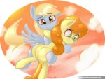 derpy_hooves flying golden_harvest highres mrw32 shipping sky