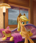 apple_bloom applejack emeraldgalaxy highres rain