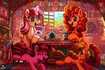 absurdres applejack cup filly flowers highres jowybean magic parents pear_butter twilight_sparkle twilight_velvet