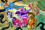 applejack fluttershy harwick highres main_six pinkie_pie rainbow_dash rarity rope spike twilight_sparkle vine