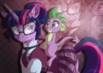 clothes dennyvixen equestria_girls glasses spike twilight_sparkle