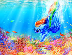 coral fish highres rainbow_dash swimming ukulilia underwater