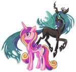 griffsnuff princess_cadance queen_chrysalis transparent