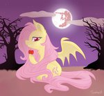 apples flourret flutterbat fluttershy mare_in_the_moon moon nighttime tree