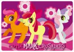 apple_bloom cutie_mark_crusaders scootaloo sweetie_belle text wink yousukou