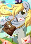 derpy_hooves flying hat mail mailbag mailbox muffin rainbowscreen