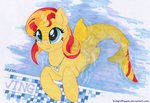 foxxy-arts merponies shark sunset_shimmer swimming_pool water