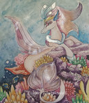 absurdres coral fish highres lunar-white-wolf queen_novo sea traditional_art underwater