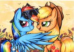 absurdres appledash applejack glasses highres mylittlesuki rainbow_dash shipping sunglasses traditional_art
