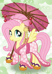 bonniepink fluttershy highres kimono_(clothing) umbrella