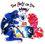 cake highres magic obliviusmoon pinkie_pie princess_luna tea tea_party