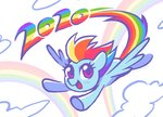 celebi-yoshi cloud flying rainbow_dash