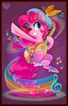 bard bell bells drumsticks feather hat highres hollulu lute music notes pinkie_pie tambourine