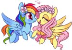 flower_crown flutterdash fluttershy heart rainbow_dash shipping suzuii