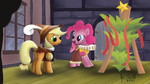 applejack chancellor_puddinghead christmas_tree hearth's_warming_eve pinkie_pie smart_cookie vsabbath