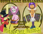 absurdres apple_bloom cannon costume cutie_mark_crusaders fauxsquared helmet highres lion poster scootaloo sweetie_belle whip