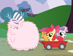 apple_bloom ask askflufflepuff cutie_mark_crusaders fluffle_puff fluffy hat mixermike622 original_character scootaloo sweetie_belle train wagon