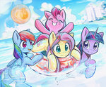 ball fluttershy mirroredsea pinkie_pie rainbow_dash swimming twilight_sparkle water