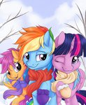 nobody47 princess_twilight rainbow_dash scarf scootaloo shipping snow twidash twilight_sparkle