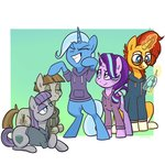 clothes highres magic maud_pie mudbriar pfeffarooart starlight_glimmer sunburst the_great_and_powerful_trixie