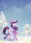 hat highres koviry scarf snow starlight_glimmer tree winter