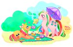 bluearturtle cake g1 parasol_(g1) ribbon_(pony) teacup teapot umbrella
