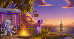 birds campfire cloud emeraldgalaxy fire highres lighthouse scenery sea starlight_glimmer sunset the_great_and_powerful_trixie tree wagon water