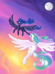 absurdres cloud flying highres moon princess_celestia princess_luna rocket-lawnchair