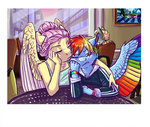 anthro breakfast chair crystal_empire earthsong9405 fluttershy limestone_pie marble_pie maud_pie pinkie_pie rainbow_dash table