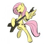 bipedal fluttershy guitar i_shall_not_use_my_hooves_as_hands metalshy rubrony