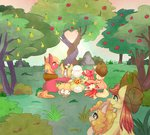 apple_bloom applejack apples big_macintosh bright_mac grand_pear granny_smith highres pear_butter pears phyllismi trees