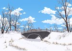 bridge eriada1992 highres scenery snow the_great_and_powerful_trixie trees winter zecora