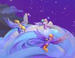 blossomforth cloud cloudkicker derpy_hooves highres muffin stars viwrastupr