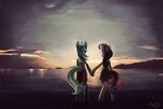 anthro lyra_heartstrings lyrabon shipping sunbusting sweetie_drops