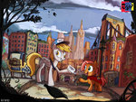 babs_seed carriage cloak derpy_hooves hat highres jowybean mail mailbag manehattan