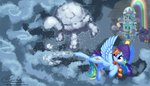 cloud cloudsdale esuka flying hat highres rainbow_dash scarf snow