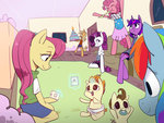 anthro applejack birthday birthday_cake fluttershy pinkie_pie pound_cake pumpkin_cake rainbow_dash rarity swomswom twilight_sparkle