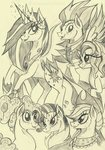 applejack fluttershy highres main_six old pinkie_pie princess_twilight rainbow_dash rarity rossmaniteanzu traditional_art twilight_sparkle