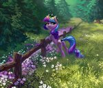 flowers grass highres holivi original_character trees