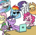 applejack computer fluttershy glasses looking_at_the_place_which_shall_not_be_named madmax main_six meme oatmeal pinkie_pie pipe princess_celestia rainbow_dash rarity reaction_image spike sunglasses trollestia twilight_sparkle