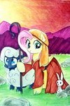 absurdres angel crook dress fluttershy highres liaaqila sheep shepherdess traditional_art