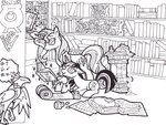 absurdres book filly foldawaywings highres magic philomena scroll sunset_shimmer traditional_art twilight_sparkle