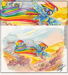 cloud drawinganddesign flying rainbow_dash sonic_rainboom traditional_art