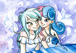 equestria_girls humanized lyra_heartstrings lyrabon microphone paulina-ap piano shipping sweetie_drops traditional_art
