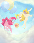 balloon cloud flying g1 highres physisinwonderland pinkie_pie surprise
