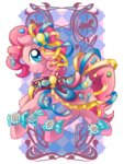 amelie-ami-chan candy dress highres pinkie_pie ribbon saddle transparent watermark